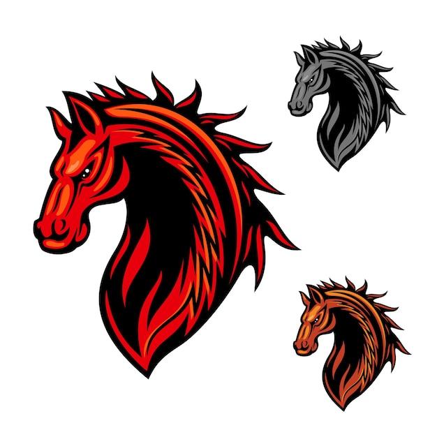 火の炎の真っ赤なカーリングの装飾品と部族の馬の頭のクリップアート Premiumベクター