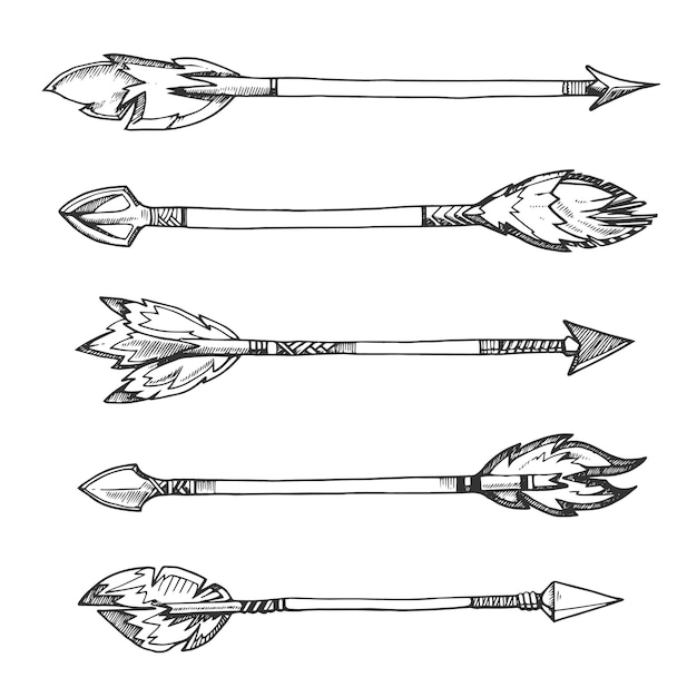 Tribal indian arrows. hand drawn decorative elements in boho style. weapon american aztec Premium Vector
