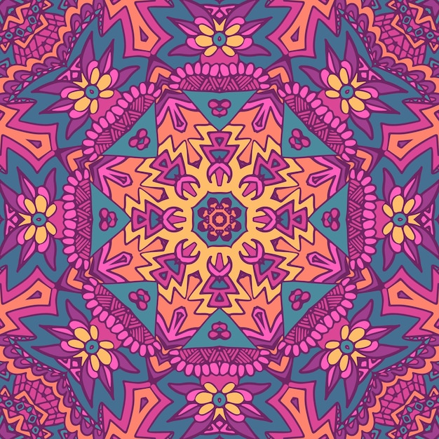 부족 인도 꽃 민족 완벽 한 디자인입니다. 프리미엄 벡터