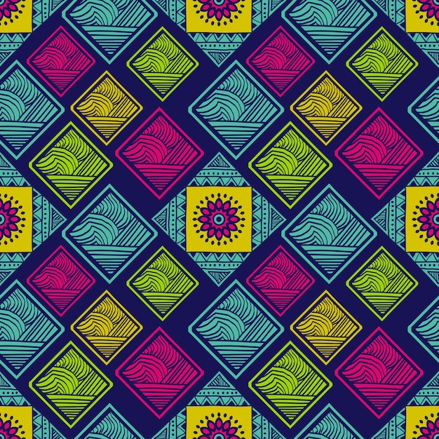 Tribal seamless pattern with colorful rectangle and mandala Premium Vector