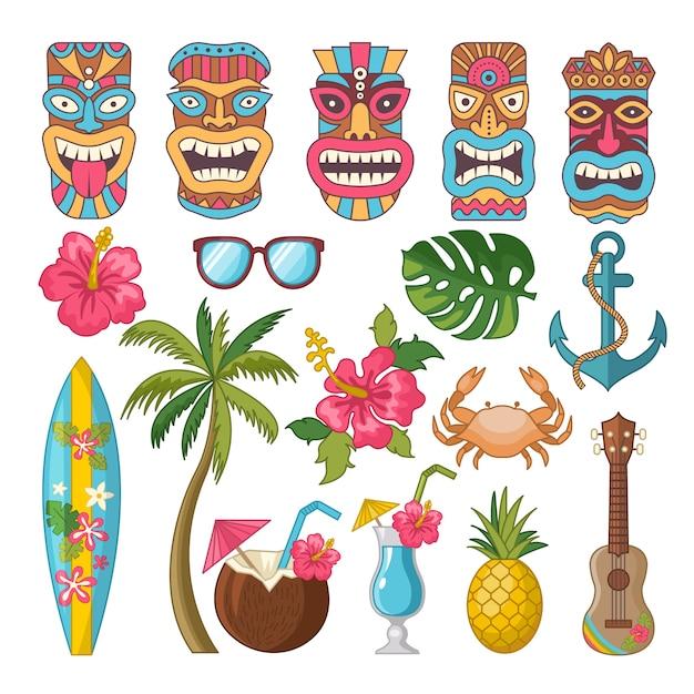 Tribal symbols of hawaiian and african culture Premium Vector