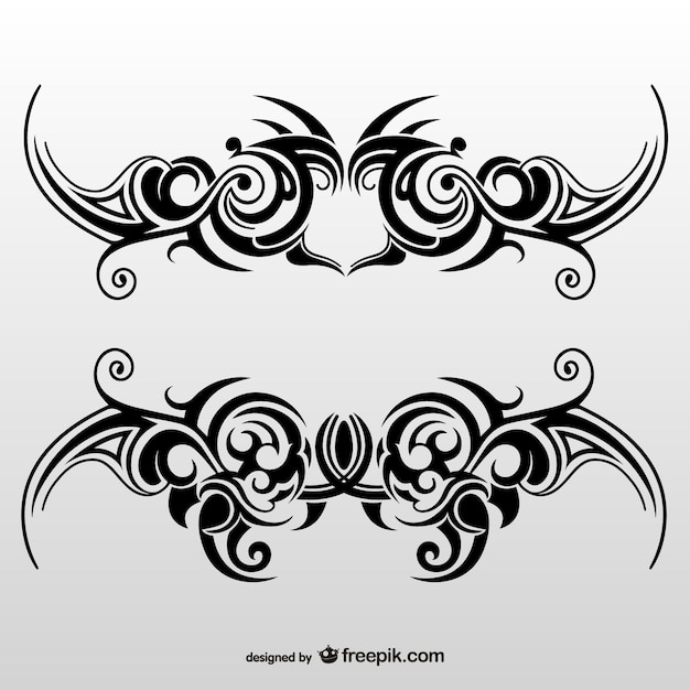 Tattoo Designs Vector Free Download: Tribal Tattoo Art Set Vector