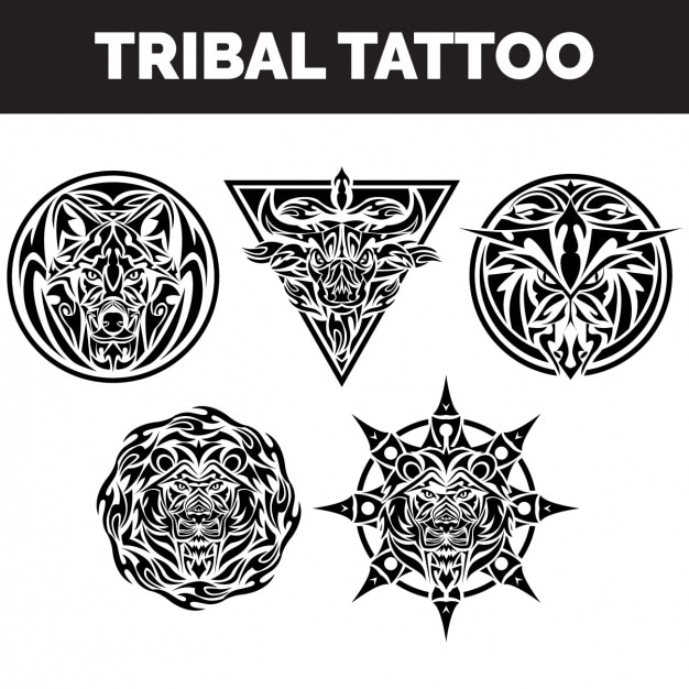 Tribal tattoos collection Free Vector