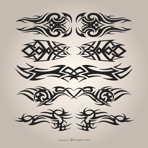 Tattoo Designs Vector Free Download: Tribal Tattoos Set Vector
