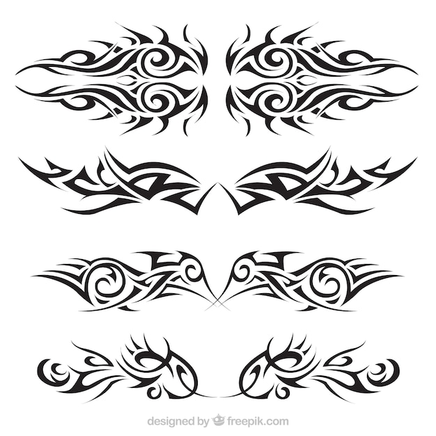 Tribal tattoos set Free Vector