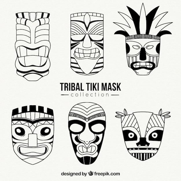 Tribal tiki mask collection Free Vector