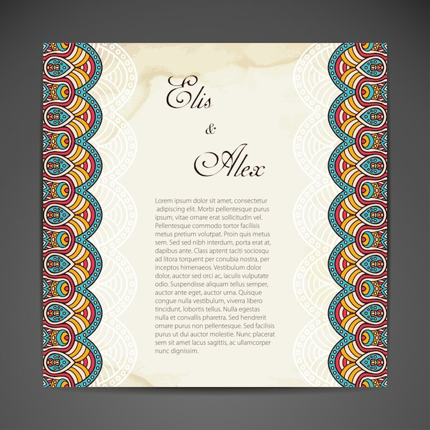 tribal wedding design with text space vector free download