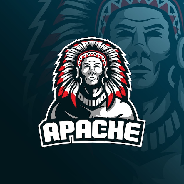 Tribe Apache Mascot Logo With Modern Illustration Vector