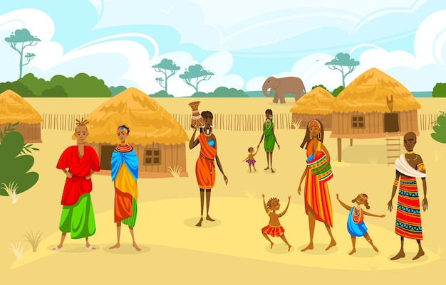 Tribe ethnic people in africa flat vector illustration. cartoon african woman with jug, afro charac