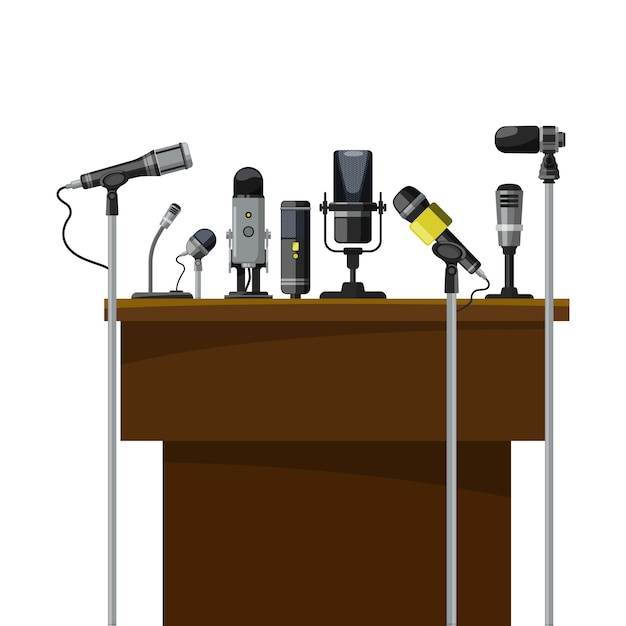 Tribune for speakers and different microphones. conference visualization. Premium Vector