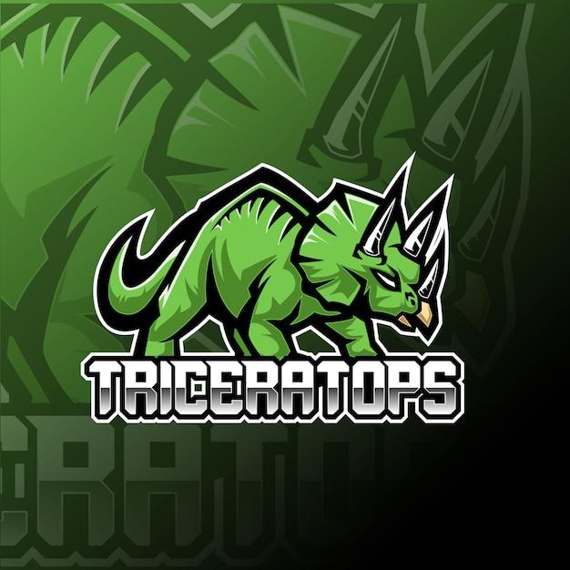 Triceratops esport mascot logo template Premium Vector