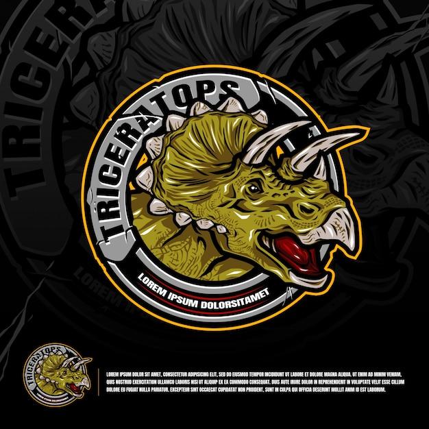 Triceratops logo graphic design vector Premium Vector