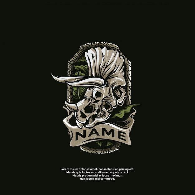 Triceratops tattoos logo template Premium Vector