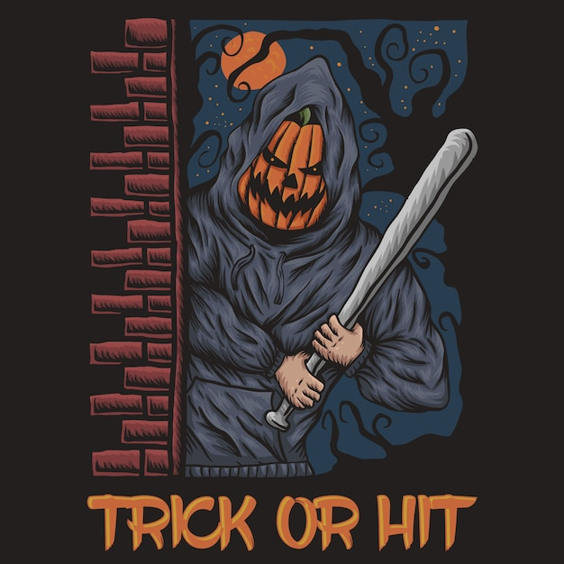 Trick or hit halloween Premium Vector