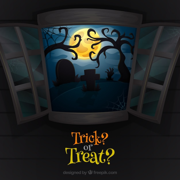 Trick or treat background with open window