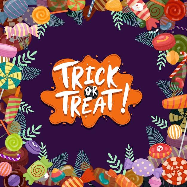 Trick or treat, 어린이를위한 다채로운 할로윈 과자. 할로윈 요소로 장식 된 사탕 무료 벡터