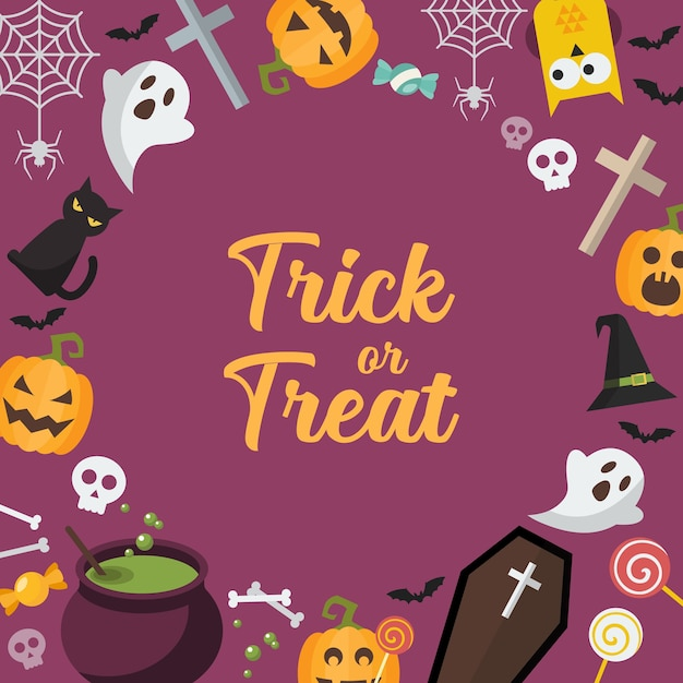 Кошелек или жизнь хэллоуин фон. поздравительная открытка вечеринки в честь хэллоуина. иллюстрация Premium векторы
