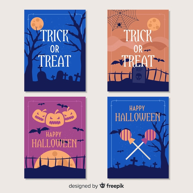 Trick or treat halloween card collection Free Vector