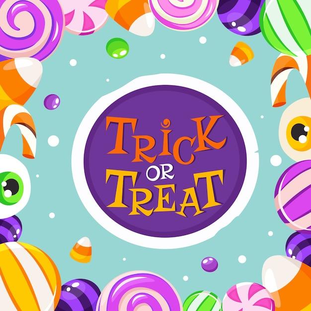 Кошелек или жизнь. сладости и конфеты на хэллоуин. Premium векторы