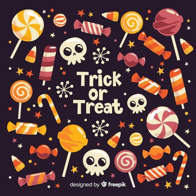 トリックオアトリートハロウィーンのお菓子、黒色の背景 無料ベクター