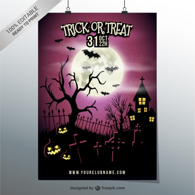 Trick Or Treat Party Poster Template Free Vector  Flyer Invitation Templates Free