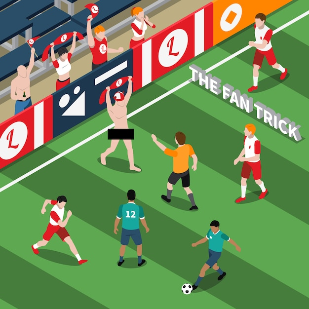 Trick of sports fan isometric illustration Free Vector