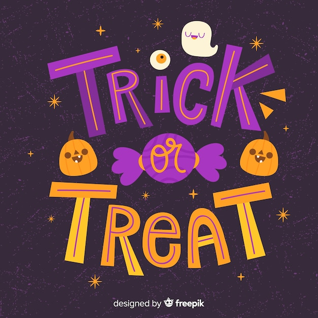 Trick or treat calligraphy pumpkin and candy Free Vector
