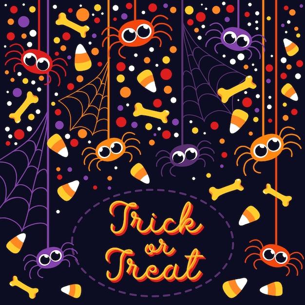 Trick or treat cute spiders and bones halloween greeting card Premium Vector