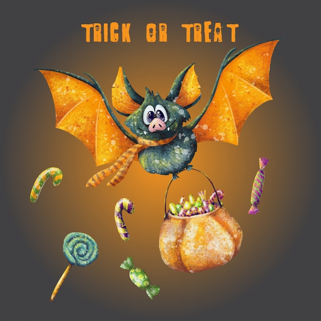 Trick or treat halloween gritting card Premium Vector
