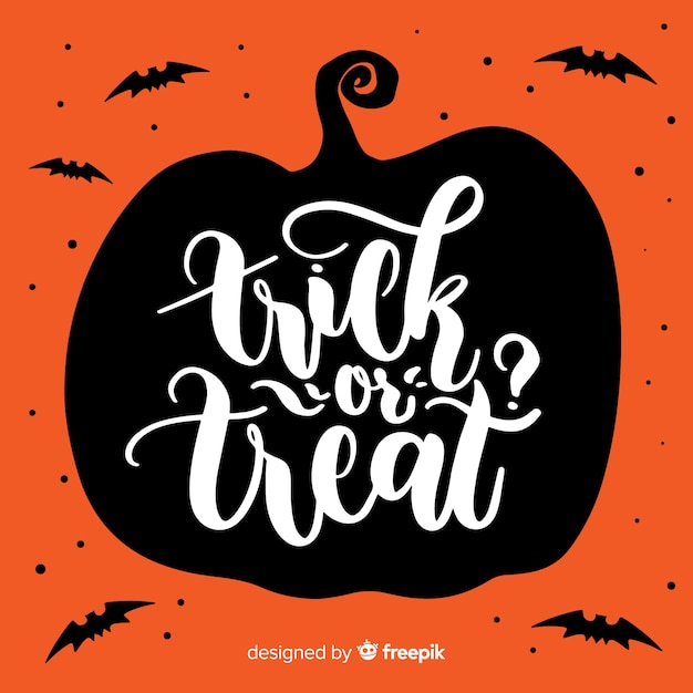 Trick or treat halloween lettering background Free Vector