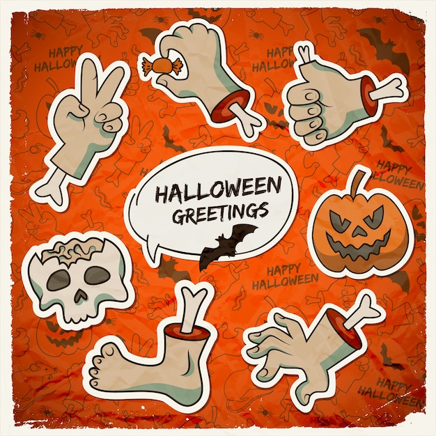 Dolcetto o scherzetto modello di halloween con teschio di zucca gesti braccia di zombie di carta Vettore gratuito