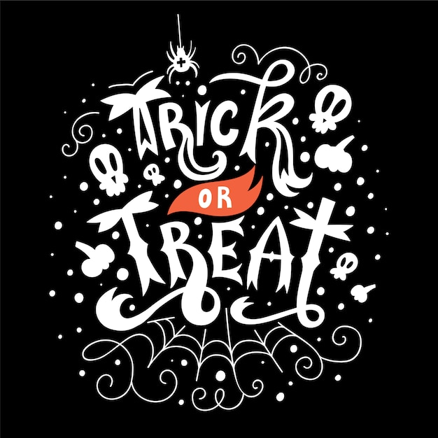 Trick or treat hallowen lettering card Premium Vector