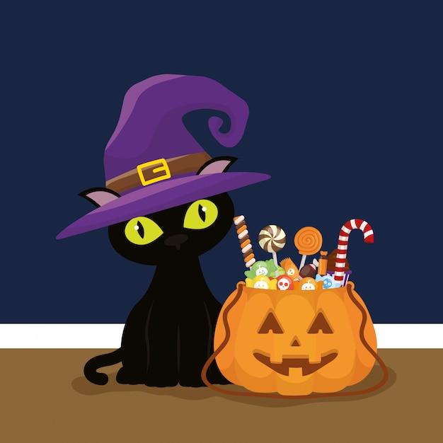Trick or treat, happy halloween Free Vector