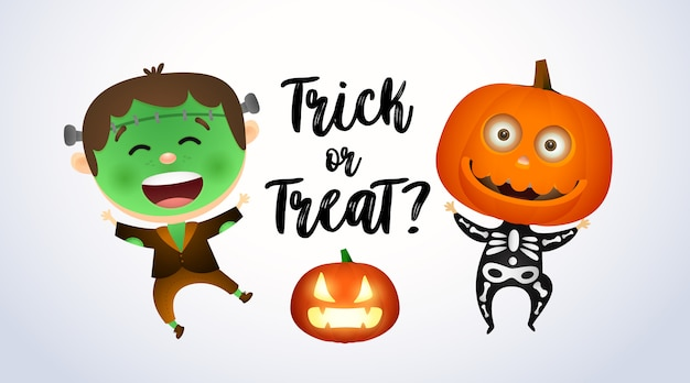 Trick or treat, kids in zombie and pumpkin costumes Free Vector
