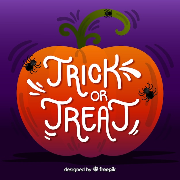 Trick or treat lettering in a pumpkin with spiders Free Vector