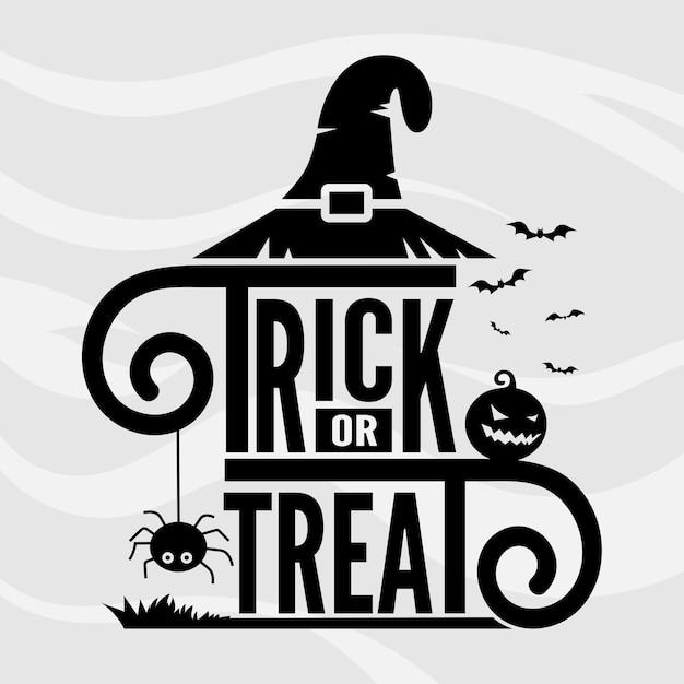 Trick or treat lettering vector template Premium Vector
