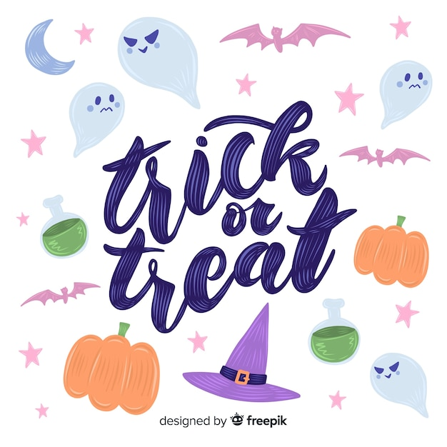 Trick or treat lettering on white background Free Vector