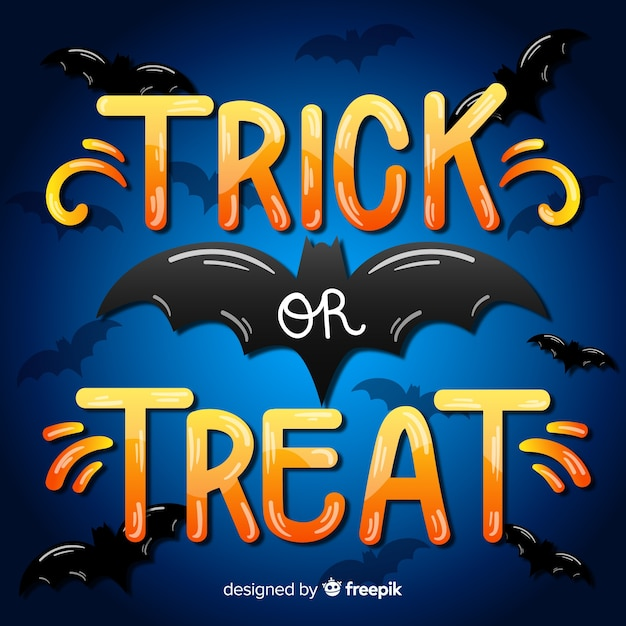 Trick or treat lettering with black bat Free Vector