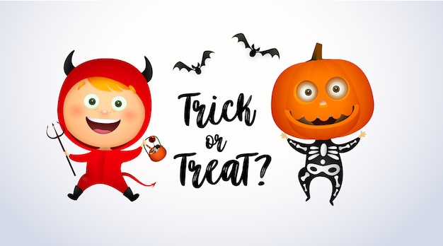 Trick or treat lettering with kids in devil and pumpkin costumes Free Vector