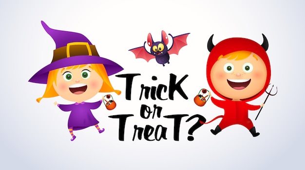Trick or treat lettering with kids in witch and devil costumes Free Vector