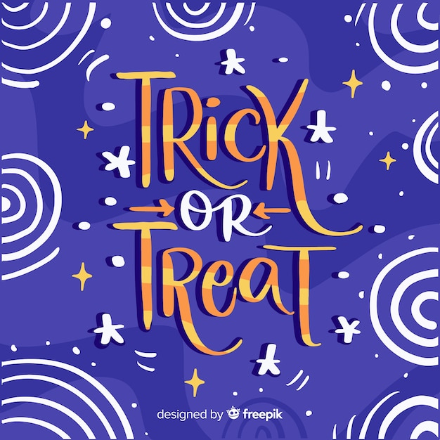 Trick or treat lettering with starry night sky Free Vector