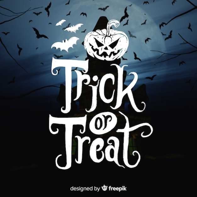 Trick or treat lettering Free Vector