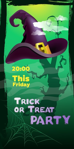 Trick or treat party this friday lettering. witch hat and cobweb Free Vector