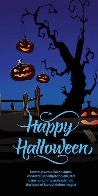 Trick or treat party this friday text. pumpkins, cobweb, tree Free Vector