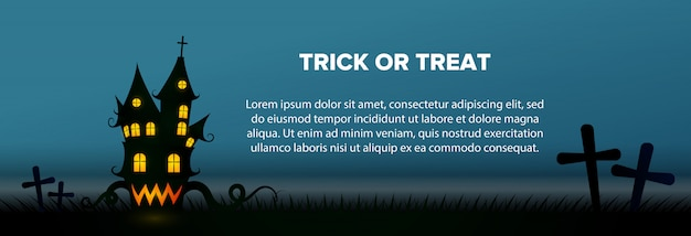 Trick or treat text with haunted house and graveyard banner Free Vector