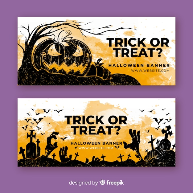 Trick or treat watercolor halloween banners Free Vector