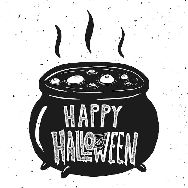 Trick or treat. witch kettle illustration on white background.  element for poster, card, invintation.  illustration Premium Vector