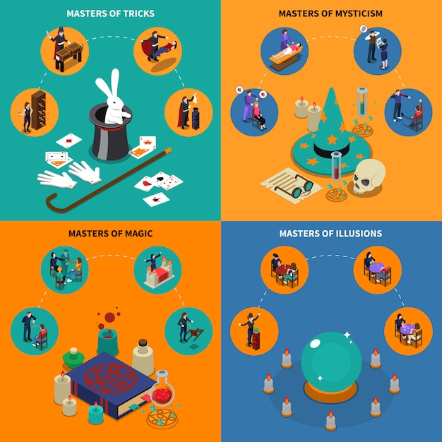 Tricks magic and mysticism isometric compositions Free Vector