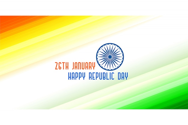 Tricolor banner for indian republic day Free Vector