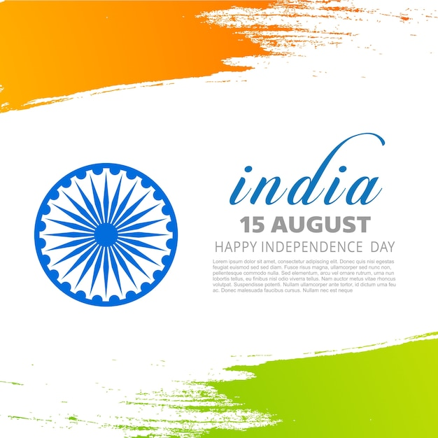 Tricolor indian independence day design Free Vector